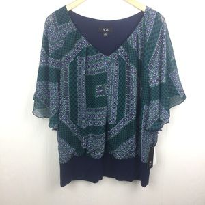 AGB Pattern Printed Cape Sleeve Blouse XL